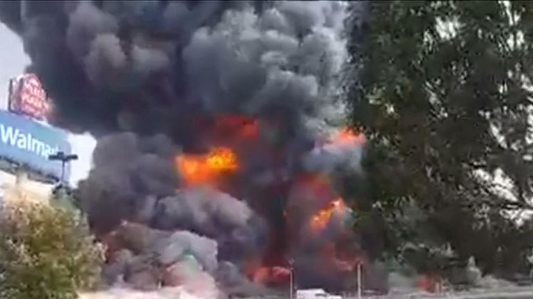 Fire at fabrics factory in Mexico dominates skyline