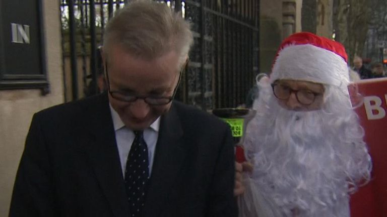 Father Christmas has a present for Michael Gove - mostly abuse, accompanied by a toy unicorn