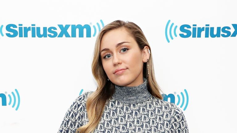 Miley Cyrus at SiriusXM Studios on December 12, 2018 in New York City