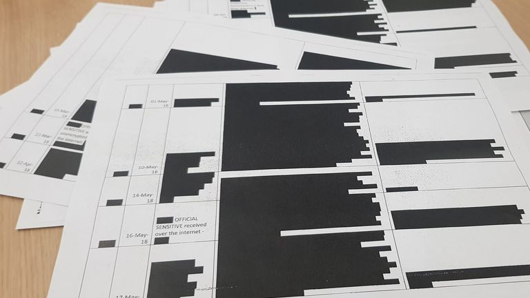 The heavily redacted documents reveal an increase in breaches