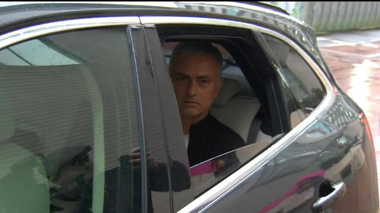 mourinho arrives at Lowry Hotel