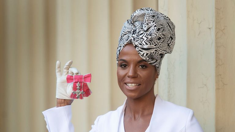 Niomi McLean-Daley, better known as Ms Dynamite with her MBE (Member of the Order of the British Empire), presented to her by the Prince of Wales during an investiture ceremony at Buckingham Palace