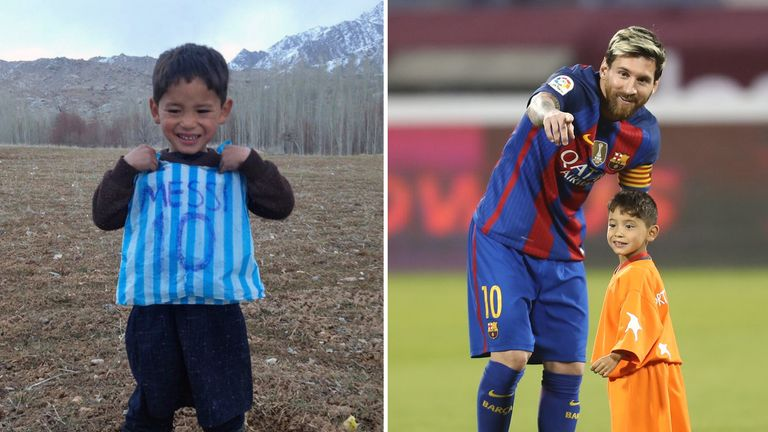 timeless design e00b9 1e853 Afghan boy who went viral after wearing plastic bag Messi ...