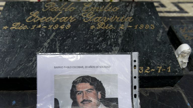 A picture of Colombian drug lord Pablo Escobar on his tomb
