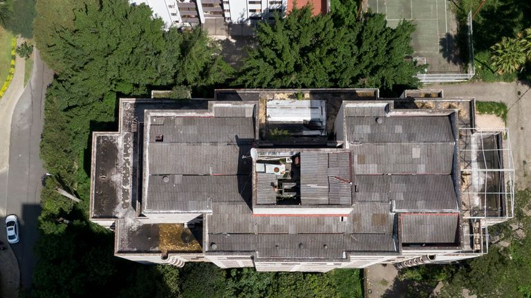 An aerial picture shows the Monaco mansion which was once home to Pablo Escobar