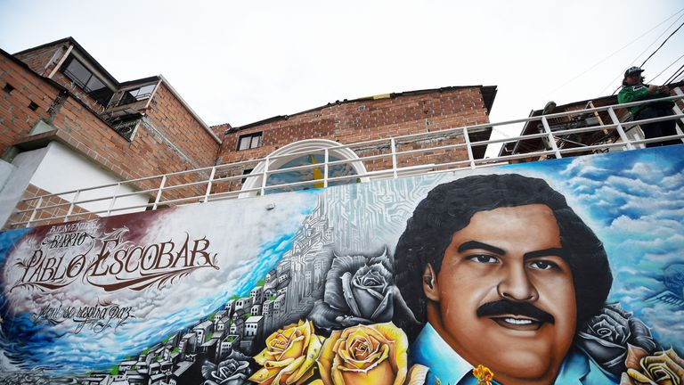 Graffiti in Medellin, Colombia shows Pablo Escobar