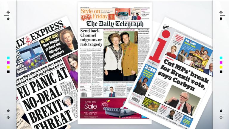 Newspaper front pages for 28/12/18
