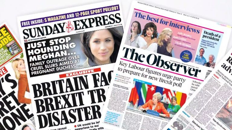A selection of Sunday's front pages