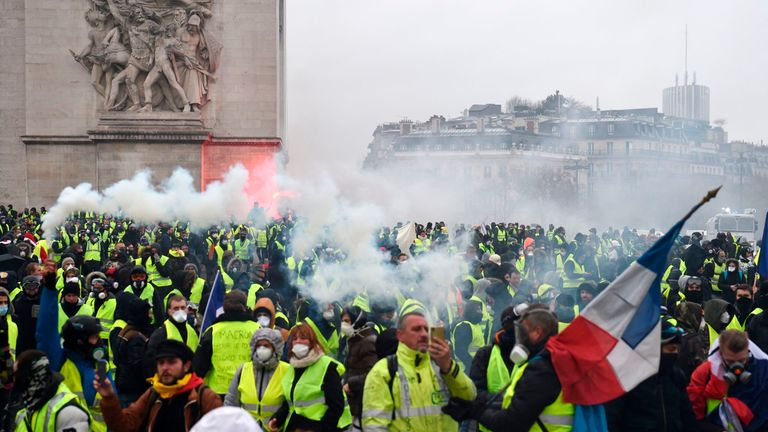 The French interior minister said 1,500 'agitators' were among those in Paris this morning