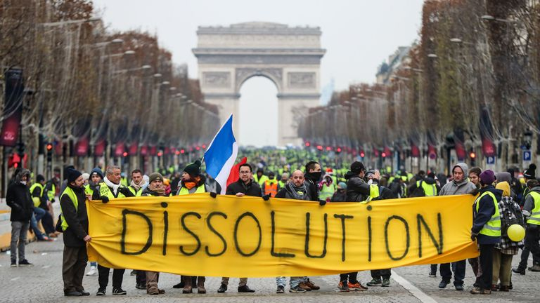 Protesters on the Champs-Elysees in Paris