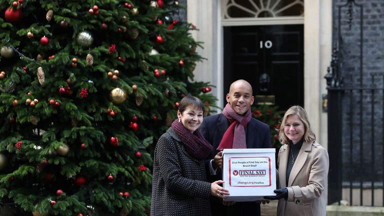 People's Vote campaigners, British politicians, Green party MP Caroline Lucas (L), Labour Party MP Chuka Umunna, and Conservative MP Justine Greening deliver a petition to 10 Downing Street, the official residence of Britain's Prime Minister Theresa May, in London on December 3, 2018. - The petition calls for the public to be given a chance to reject the final Brexit deal in favour of staying in the European Union (EU).