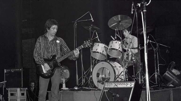 Pete Shelley performs with the Buzzcocks at London's Roundhouse in 1977. Pic: Rex