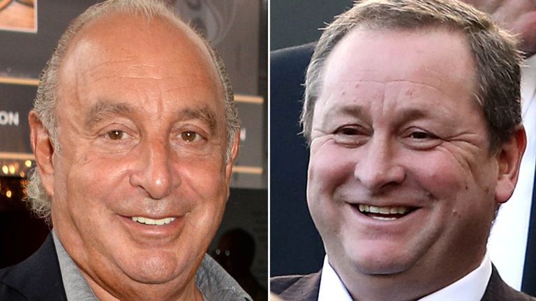 Philip Green and Mike Ashley. Pic: Photo by Richard Young/REX/Shutterstock