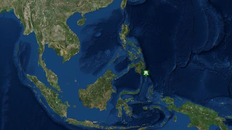 The earthquake struck off the southern Philippine island of Mindanao. Pic: US Tsunami Warning System