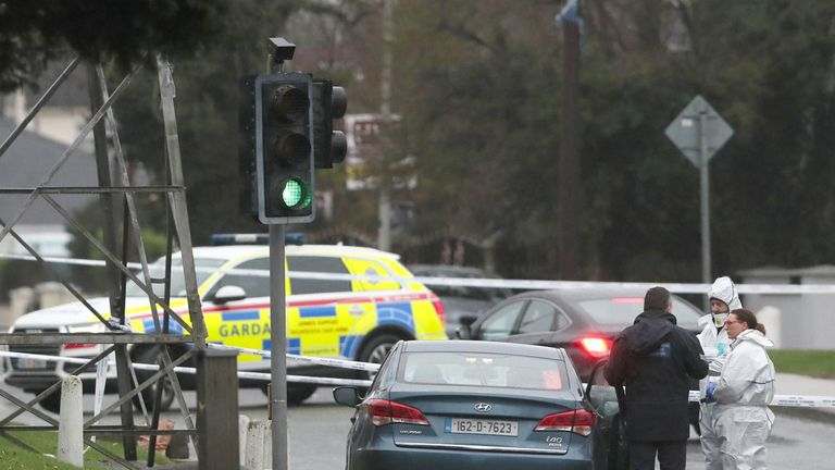 Irish police examine the scene in Blanchardstown