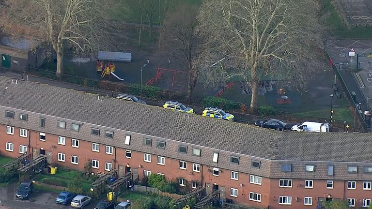 The police presence appears to be near a play park