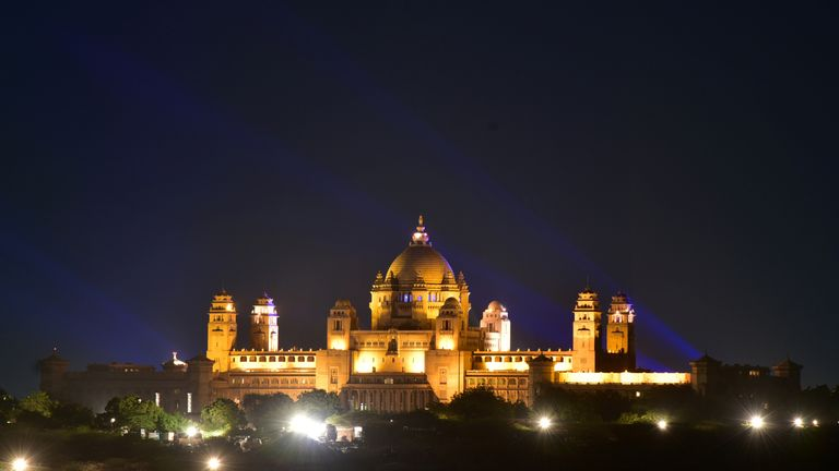 A view of the illuminated Umaid Bhawan Palace, the couple's wedding venue
