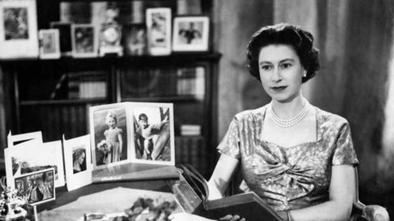 The Queen in the Long Library at Sandringham shortly after making her Christmas Day broadcast to the nation