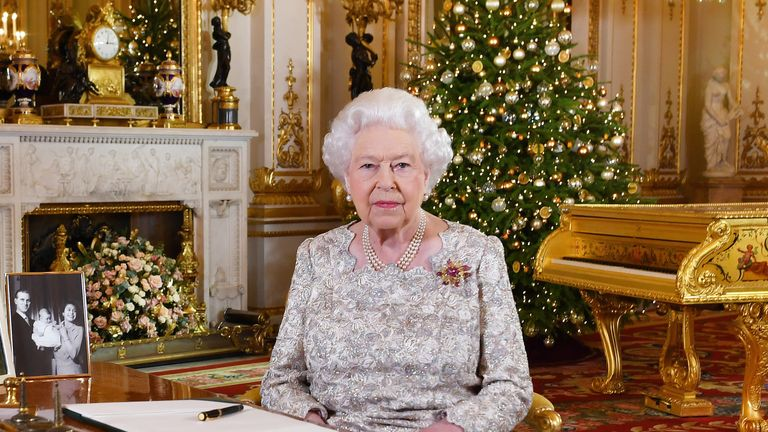 EMBARGOED TO 0001 MONDAY DECEMBER 24, 2018. Queen Elizabeth II after she recorded her annual Christmas Day message, in the White Drawing Room of Buckingham Palace in central London
