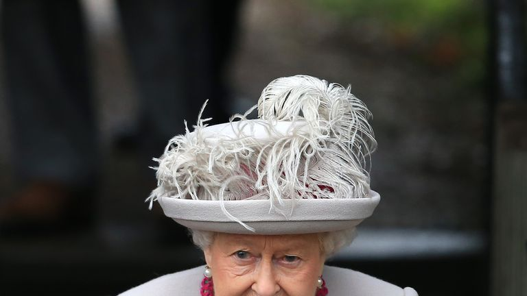The Queen leaves after the service