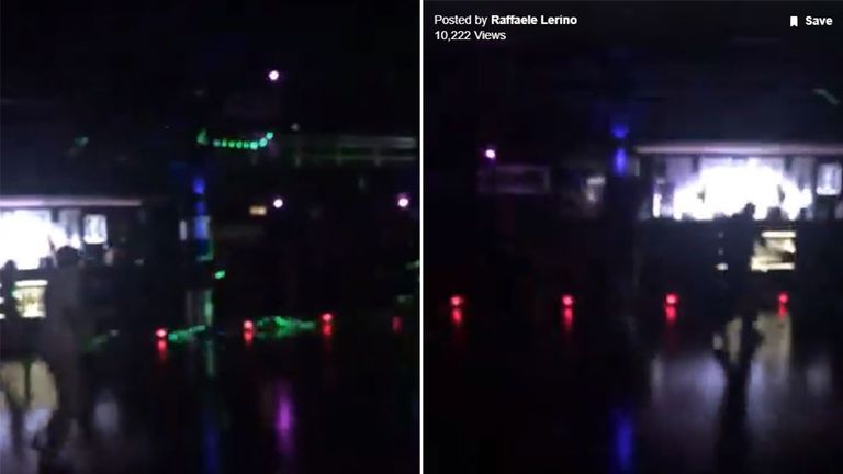 Stills taken from a video shot by Rafaele Lerino show people inside the club running to escape
