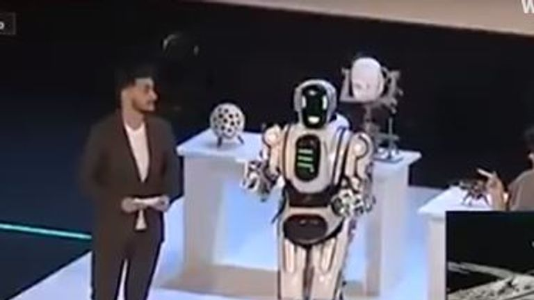 Footage of a high-tech AI robot that Russian state television used as an example of the country's technological prowess has been exposed as a man wearing a robot suit.