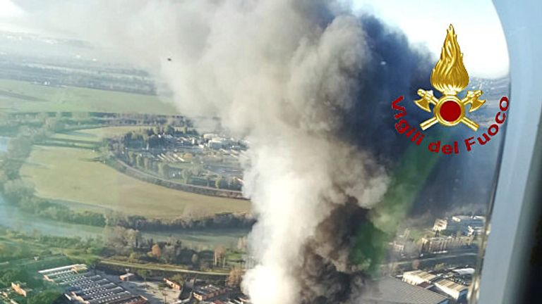 A view from helicopter shows a large fire that has broken out in a municipal rubbish dump on the northern outskirts of Rome, Italy