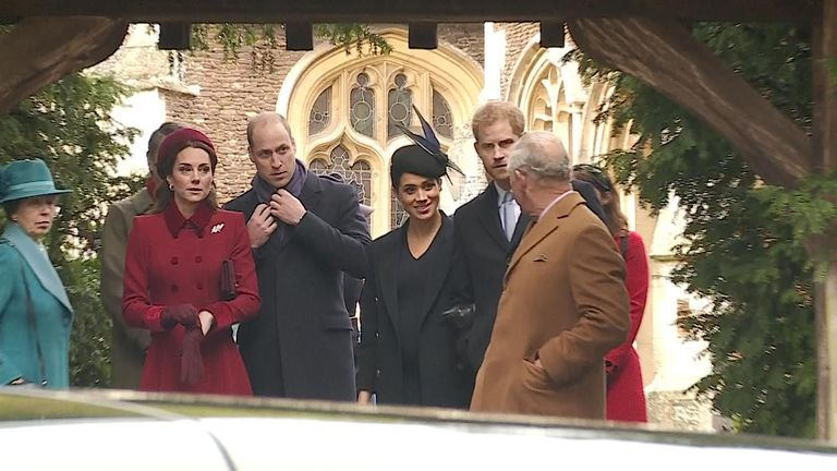 The Royal Family depart after attending the Christmas Day Church service at Church of St Mary Magdalene on the Sandringham estate.
