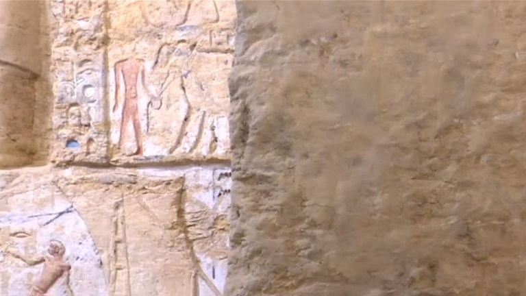 Egypt has unveiled a well-preserved 4,400-year-old tomb found in a buried ridge at the ancient necropolis of Saqqara
