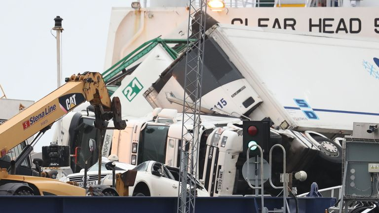 Toppled lorries on board the European Causeway, a P&O Ferry which was travelling from Larne in Northern Ireland to Cairnryan Ferry Terminal, Wigtownshire, when it was caught in high winds. PRESS ASSOCIATION Photo. Picture date: Tuesday December 18, 2018. Several ambulances were sent to the scene along with police, the fire and rescue service and the coastguard, after six vehicles shifted on board the ferry, causing damage. See PA story POLICE Ferry. Photo credit should read: Andrew Millligan/PA