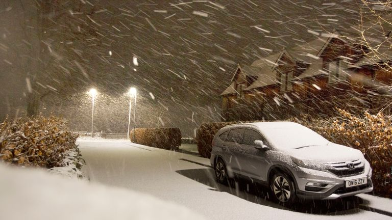 fae7f2949483f Snow falls in the Scottish Borders as Storm Deirdre hit the British Isles  bringing plunging temperatures