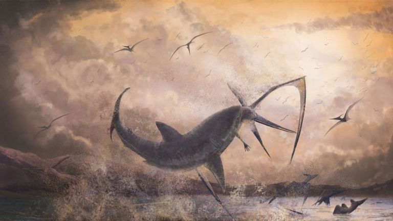 A USC scientist has documented the prehistoric occurrence of a shark species battling a pterosaur, a flying reptile. Credit: Illustration/Mark Witton