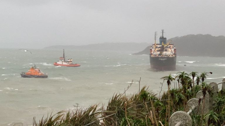 Russian cargo ship refloated after running aground in Cornwall | UK