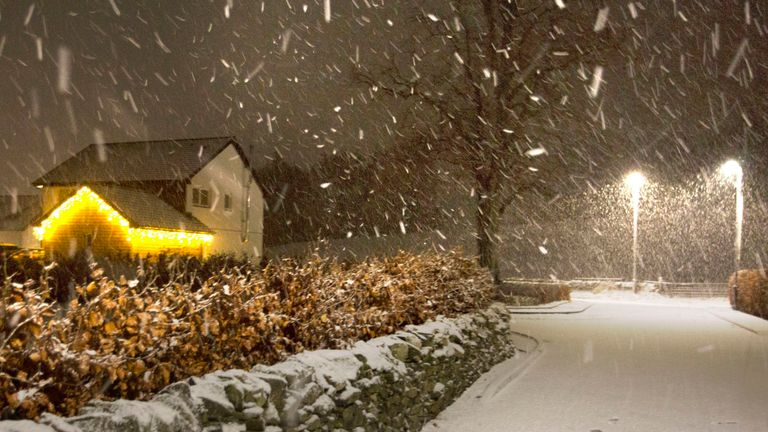 Snow falls in the Scottish Borders as Storm Deirdre hit the British Isles
