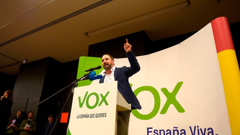 Santiago Abascal, leader of Spain's far-right party Vox, said Andalusians made history
