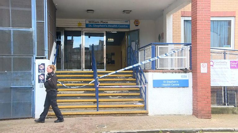 The health centre was cordoned off