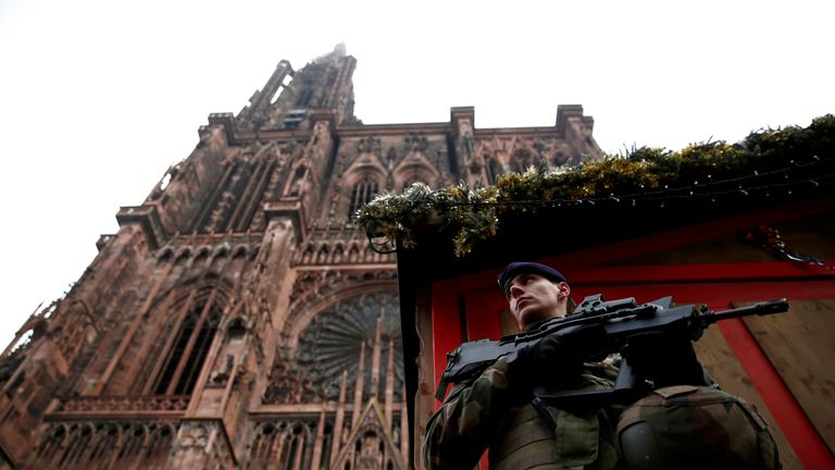 French soldiers were standing In front of the cathedral on Wednesday