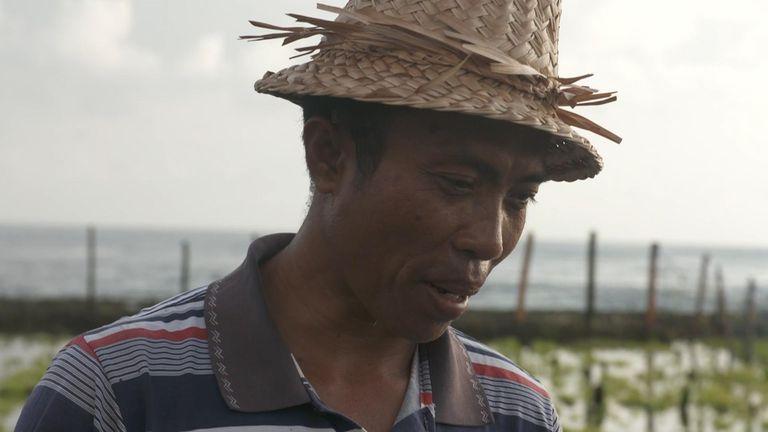 Nyoman Sudastra has been farming seaweed on Nusa Penida, an idyllic island next to Bali in Indonesia, for more than 20 years.