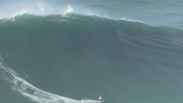 Surfers Took Full Advantage Of Enormous Waves In Portugal As They Crashed Into The Shore
