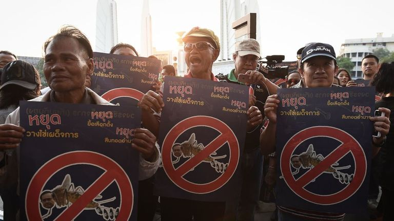 Protesters took to the streets of Bangkok earlier this year to demand elections