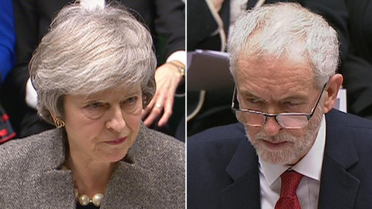 Theresa May and Jeremy Corbyn faced-off in the Commons on Monday