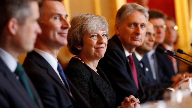 Jeremy Hunt, Theresa May, Philip Hammond, Sajid Javid and Greg Clark during the UK-Poland Inter-Governmental Consultations at Lancaster House, London