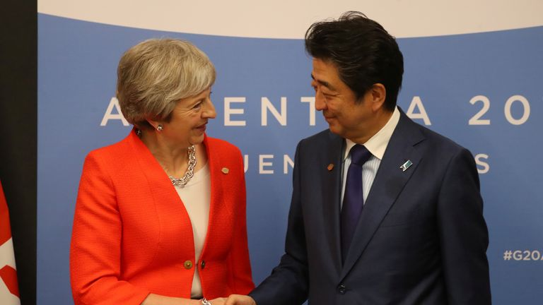 Britain's Prime Minister Theresa May and Japan's Prime Minister Shinzo Abe shake hands during a bilateral meeting at the Group 20 summit, in Buenos Aires, Argentina December 1, 2018