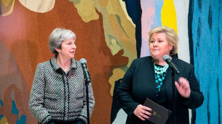 Theresa May and her Norwegian counterpart Erna Solberg