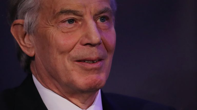 Former British Prime Minister Tony Blair takes part in a Q&A during the 'UK In A Changing Europe Conference' at the QEII Centre on March 29, 2018 in London, England
