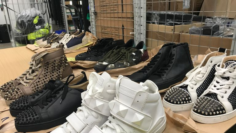 Christian Louboutin, Louis Vuitton, Jimmy Choo and Gucci trainers were seized