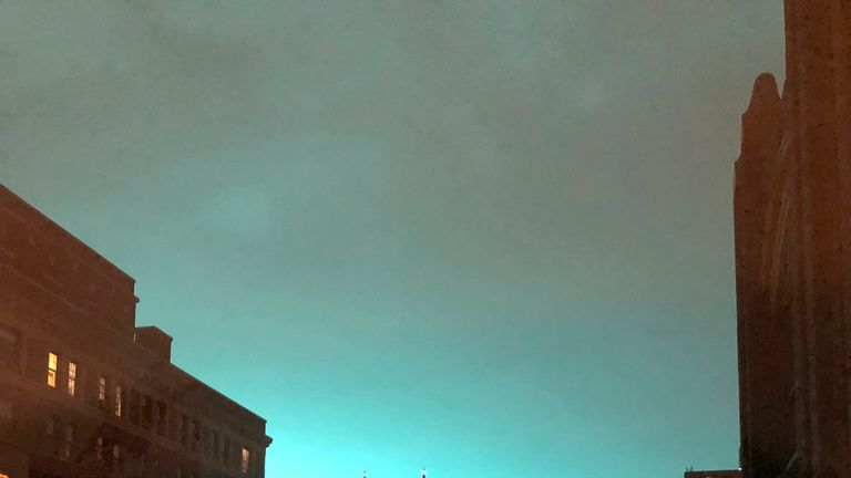 The blue light over New York
