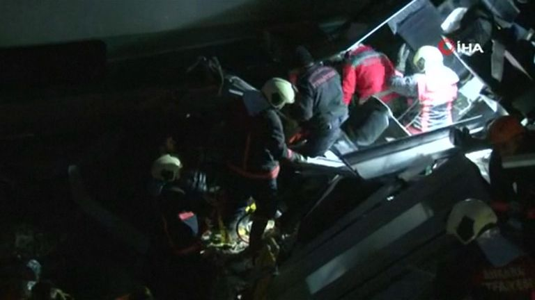 Rescuers are still working their way through the wreckage