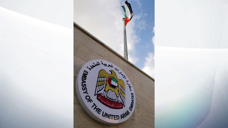 An Emirati flag flies during the reopening of the United Arab Emirates embassy in Damascus, Syria December 27, 2018. REUTERS/Omar Sanadiki