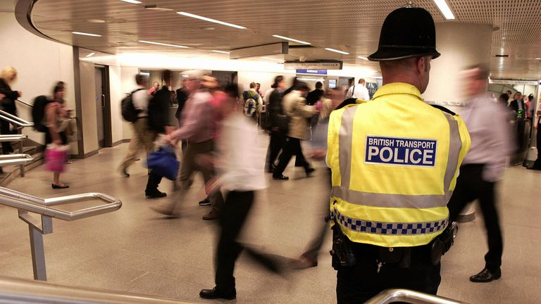 Police patrolling the transport network